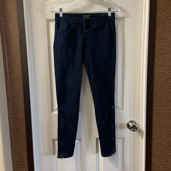 Guess Denim - Guess Dark Blue Power-Ultra Skinny Zip Detail jean